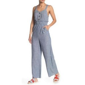 Romeo and Juliet Couture Blue Linen jumpsuit Med